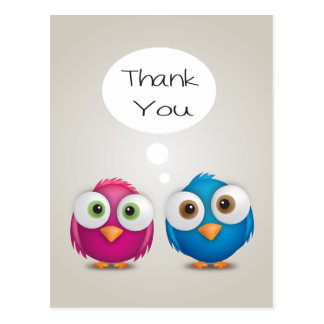 Thank You Lovebirds Pink & Blue Wedding Birds Gray Postcard