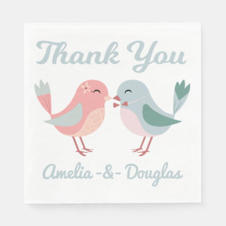 Thank You Lovebirds Pink & Blue Wedding, Bridal Paper Napkin