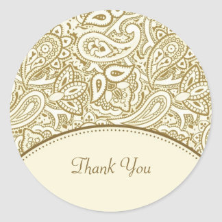 Thank You Luxury Gold and Ivory Paisley Damask Classic Round Sticker
