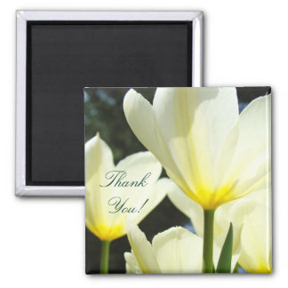 Thank You! magnet Yellow White Tulip Flowers Boss