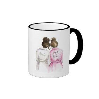 Thank You Maid of Honour Dk Br Bride Br Maid Ringer Coffee Mug