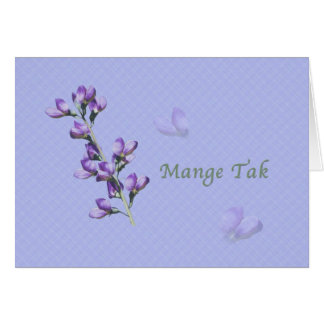Thank You, Mange Tak, Danish, Purple Sweet Peas Card
