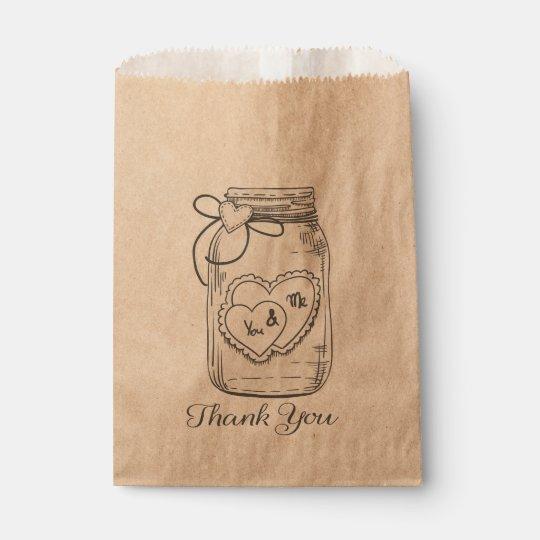 Thank You Mason Jar Hearts Wedding Bridal Shower Favour Bag