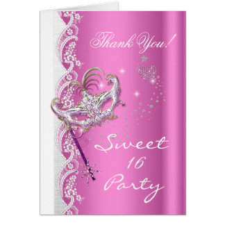 Thank You Masquerade Mask Sweet 16 Party Pink Card