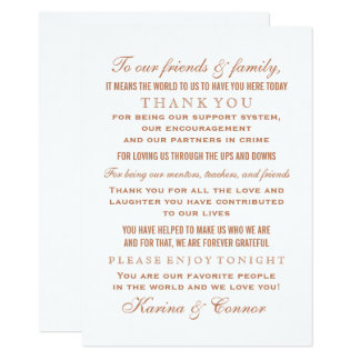 Thank You Message Card | Copper Wedding