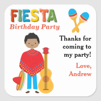 Thank You Mexican Fiesta Birthday Party Square Sticker