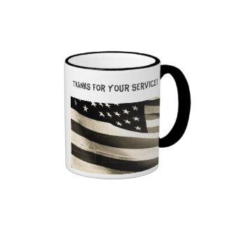 Thank You, military, American Flag, black & white Mug