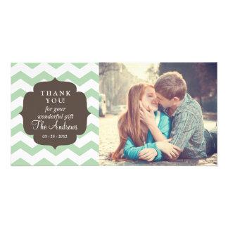Thank You Mint Chevron Stripes Personalized Photo Card