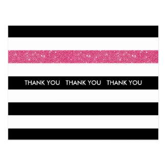 Thank You Modern Black White Stripes Pink Glitter Postcard