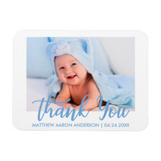 Thank You Modern New Baby Boy Blue Magnet