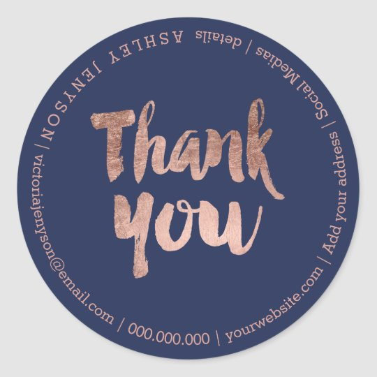 thank you modern rose gold typography navy blue classic round sticker