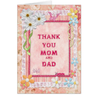 Thank you mom and dad, flowers craft card