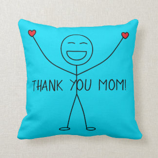 THANK YOU MOM Cute Stick Figure Gratitude Love Throw Pillow