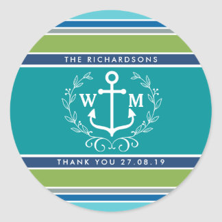Thank You Monogram Anchor Laurel Wreath Stripes Classic Round Sticker