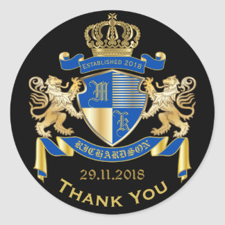 Thank You Monogram Coat of Arms Gold Blue Emblem Classic Round Sticker