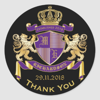 Thank You Monogram Coat of Arms Gold Purple Emblem Classic Round Sticker