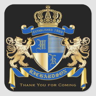 Thank You Monogram Coat of Arms Golden Lion Emblem Square Sticker