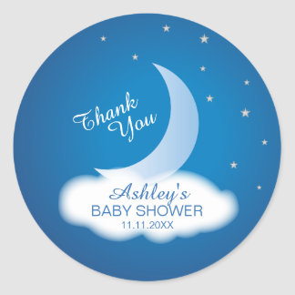 Thank You Moon and Stars Baby Shower - Blue/White Classic Round Sticker