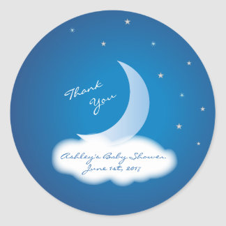 Thank You Moon and Stars Baby Shower - Blue/White Round Sticker