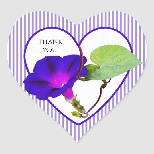"""Thank You"" Morning Glory Floral Photography Heart Sticker"