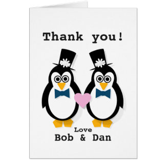 """Thank You!"" Mr & Mr Customisable Penguin Card"