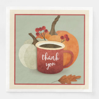 Thank  you Mug With Pumpkin, Thanksgiving Napkins Disposable Napkins