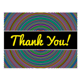 """Thank You!"" + Multicolored Circles/Rings Pattern Postcard"