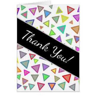 """""""Thank You!"""" + Multicolored Triangles Pattern Card"""