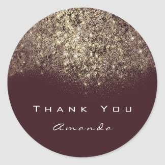 Thank You Name Gold Glitter Confetti Burgundy Spar Classic Round Sticker