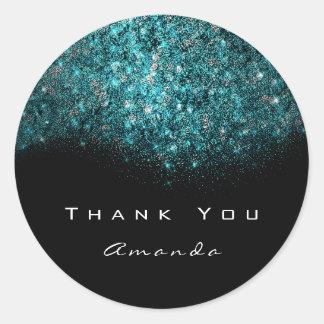Thank You Name Ocean Blue Tiffany Black White Classic Round Sticker