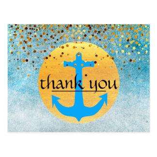 Thank You Nautical Anchor Confetti Glitter  Moon Postcard