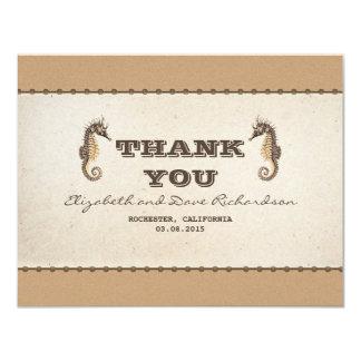 thank you nautical seahorses wedding flat card