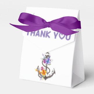 Thank You Nautical Ship Anchor Floral Wedding Favor Box