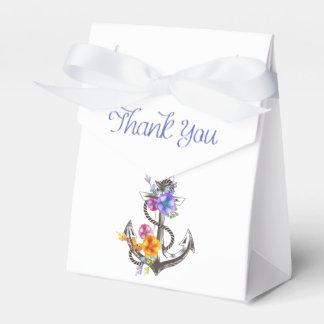 Thank You Nautical Ship Anchor Floral Wedding Party Favor Box