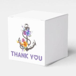 Thank You Nautical Ship Anchor Floral Wedding Party Favor Boxes