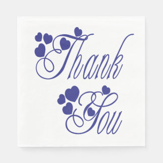Thank You Navy Blue And White Hearts Wedding Party Paper Napkin