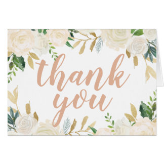 Thank You | Neutral Watercolor Blooms Card
