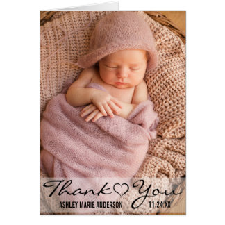 Thank You New Baby Modern Photo Heart Note Card