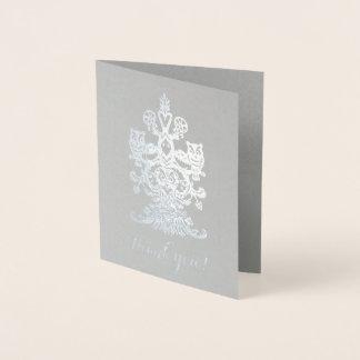 Thank you noble grey silver royal owls foil card