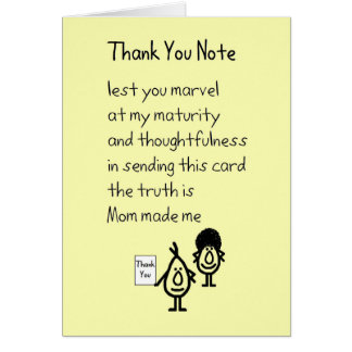 Thank You Notes For Wedding Gifts In Spanish : Thank You NoteA funny thank you poem Greeting Card