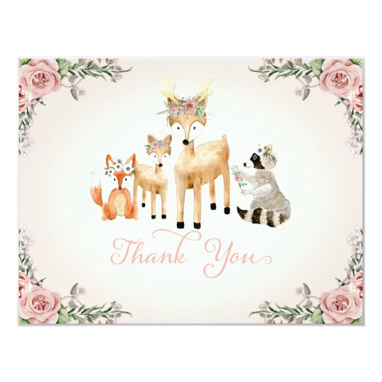 Thank You Note Baby Girl Woodland Deer fox Raccoon Card