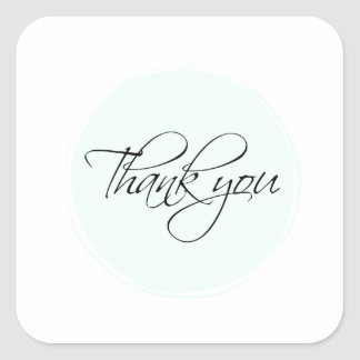Thank You Note Blue Square Sticker