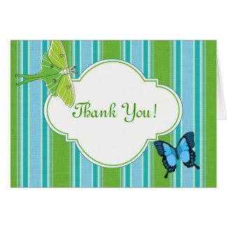Thank You Note Card Luna Moth and Butterfly