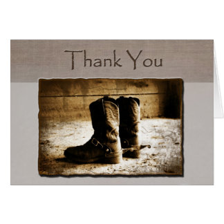 Thank You Note Card of Rustic Boots in sepia-weste
