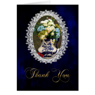 THANK YOU- NOTE CARD VINTAGE BLUE LACE