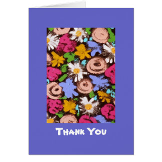 Thank You note card with flowers