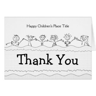 thank you note card with happy children