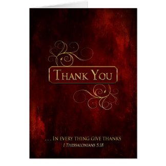 Thank You Note Cards - Christian- Red Texture/Gold