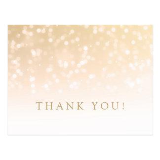 Thank You Note Gold Bokeh Sparkle Lights Postcard