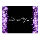 Thank You Note Sparkling Lights Purple Postcard